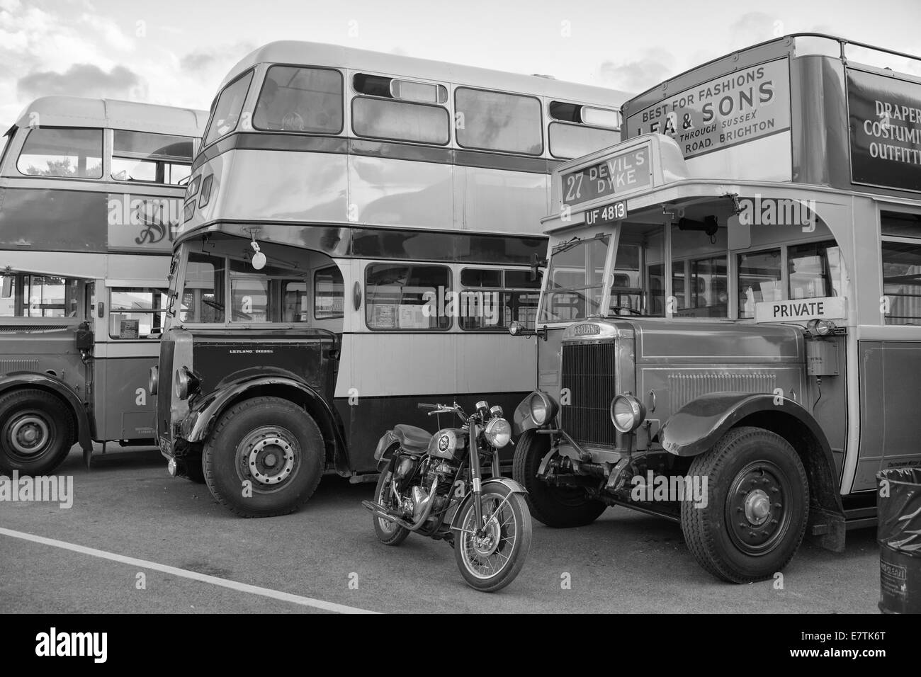 Black and white photo of old London buses Stock Photo - Alamy