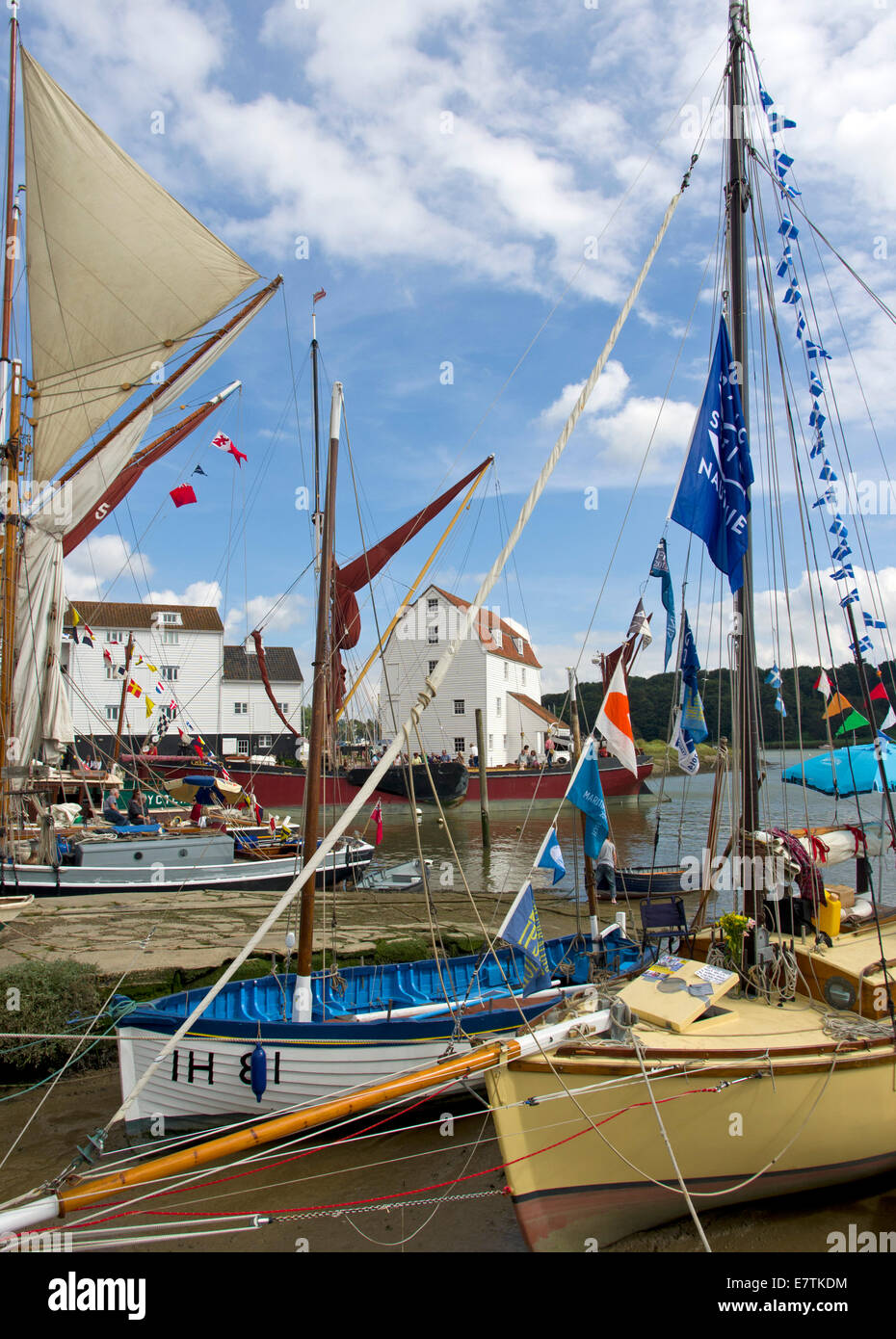 Woodbridge with boats and the famous Tide Mill on the River Deben - Stock Image