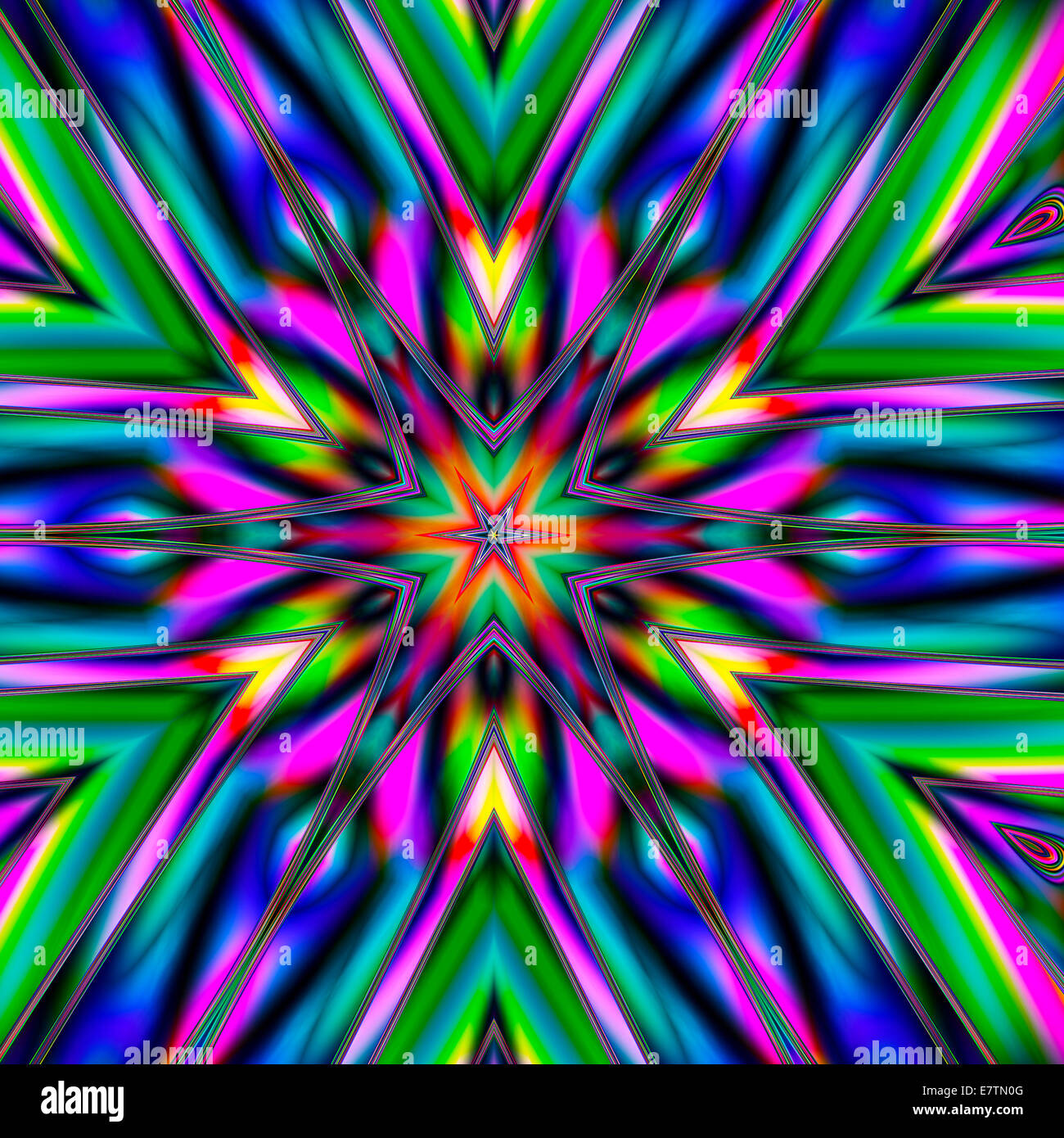 Psychedelic abstract pattern, computer artwork. - Stock Image