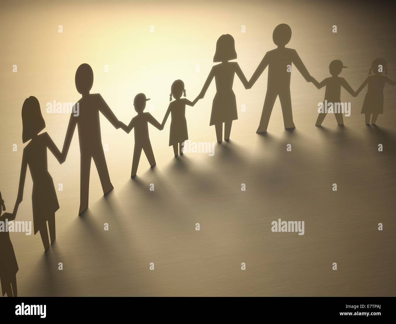 Paper chain of family, computer artwork. - Stock Image