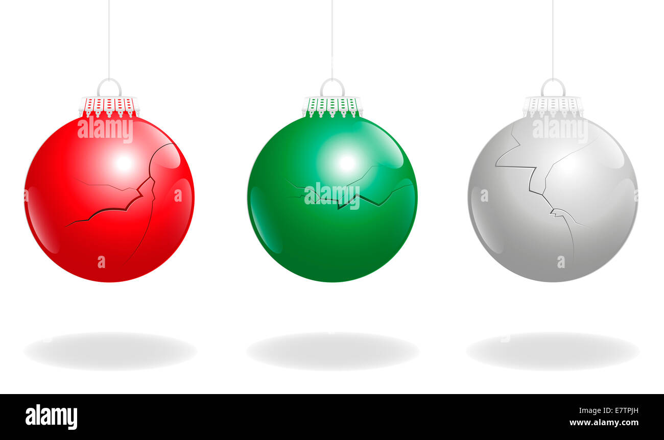 Three damaged christmas balls, as a symbol for problems concerning xmas. - Stock Image
