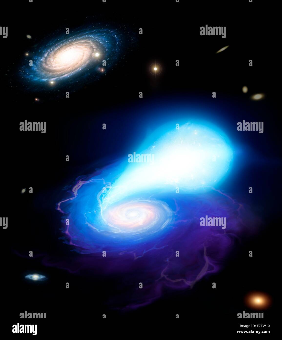 Illustration of a pair of stars about to merge. The objects in question are stellar corpses. In front is a neutron - Stock Image