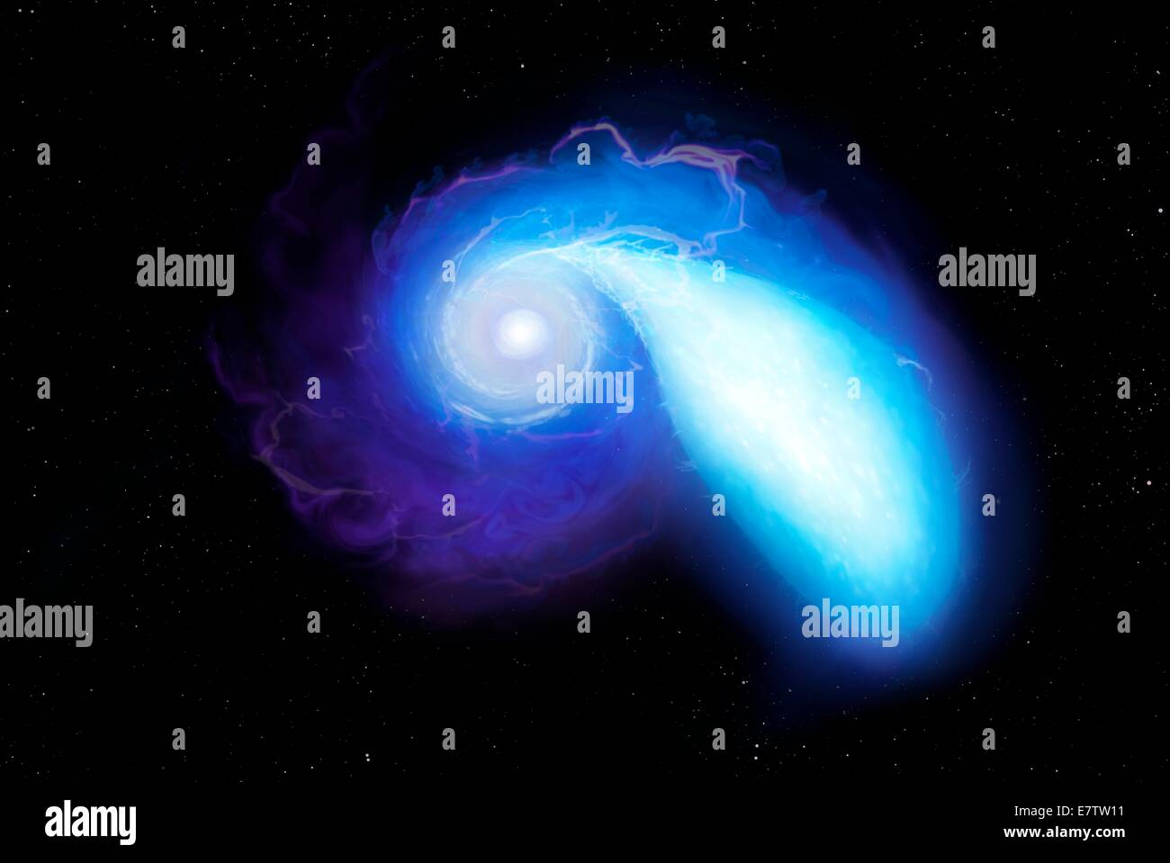 Illustration of a pair of stars about to merge. The objects in question are stellar corpses. On the left is a neutron - Stock Image