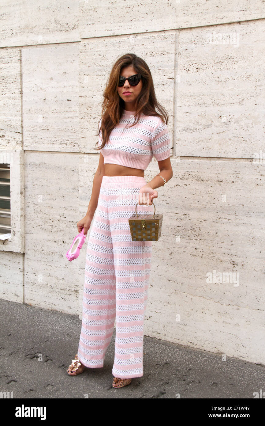 Blogger Korin Avraham arriving at the Salvatore Ferragamo Spring/Summer 2015 runway show in Milan, Italy - Sept - Stock Image