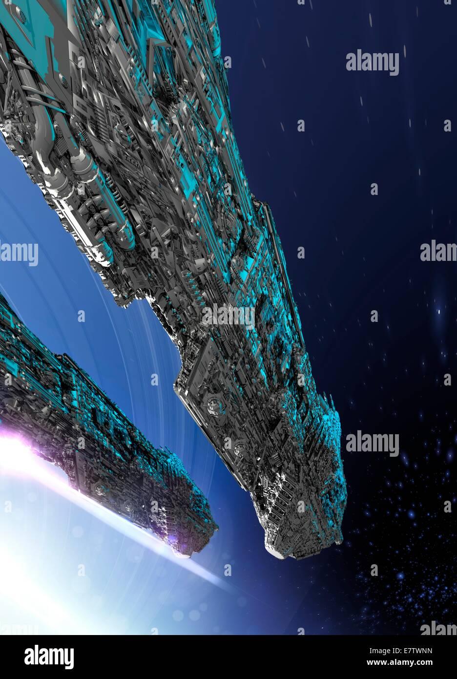 Spaceship, computer artwork. - Stock Image
