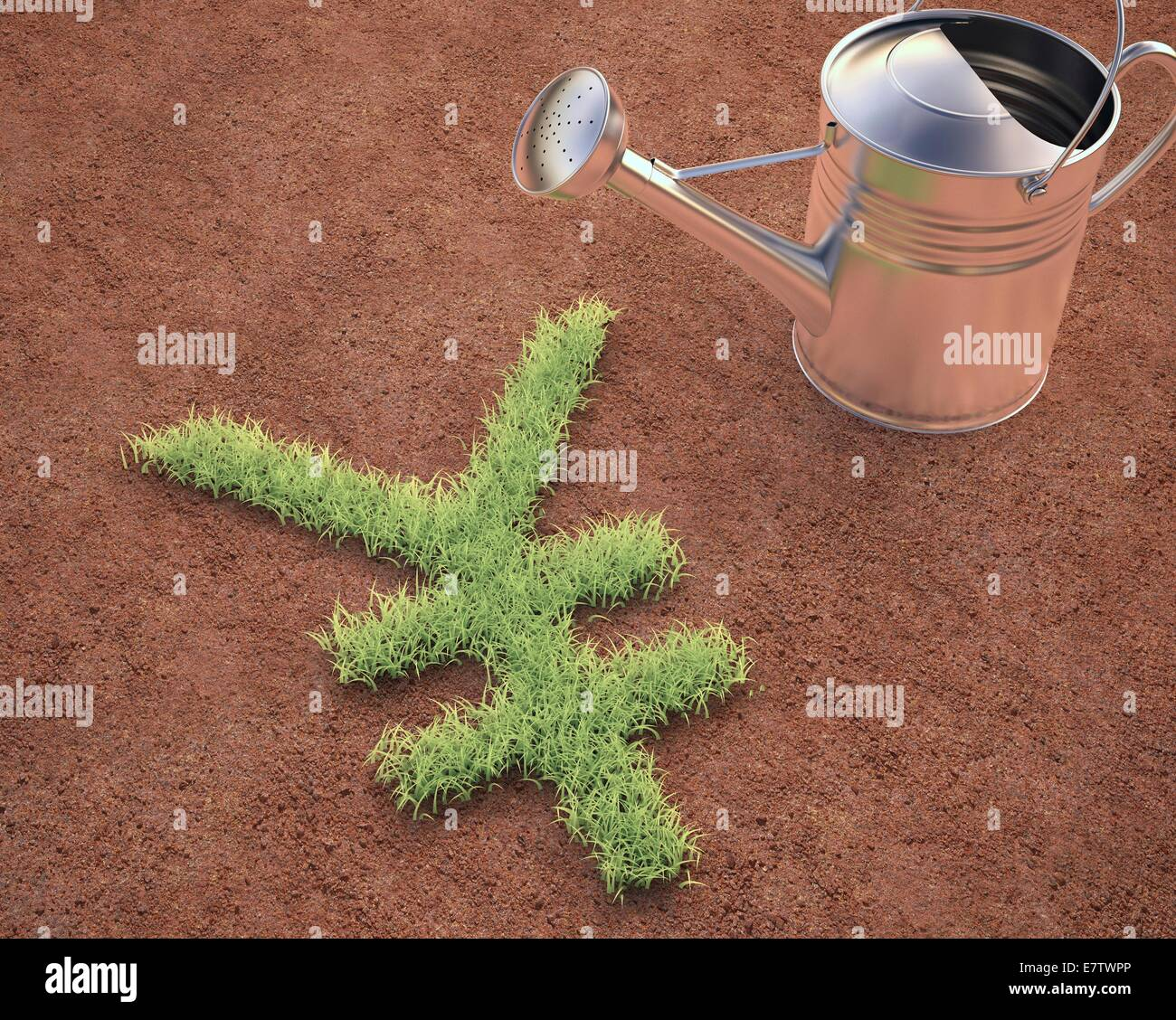 Japanese yen sign and watering can, conceptual artwork. - Stock Image