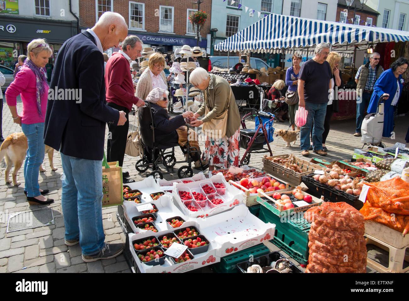 Fruit and vegetable stall at Ludlow street market Shropshire England UK - Stock Image