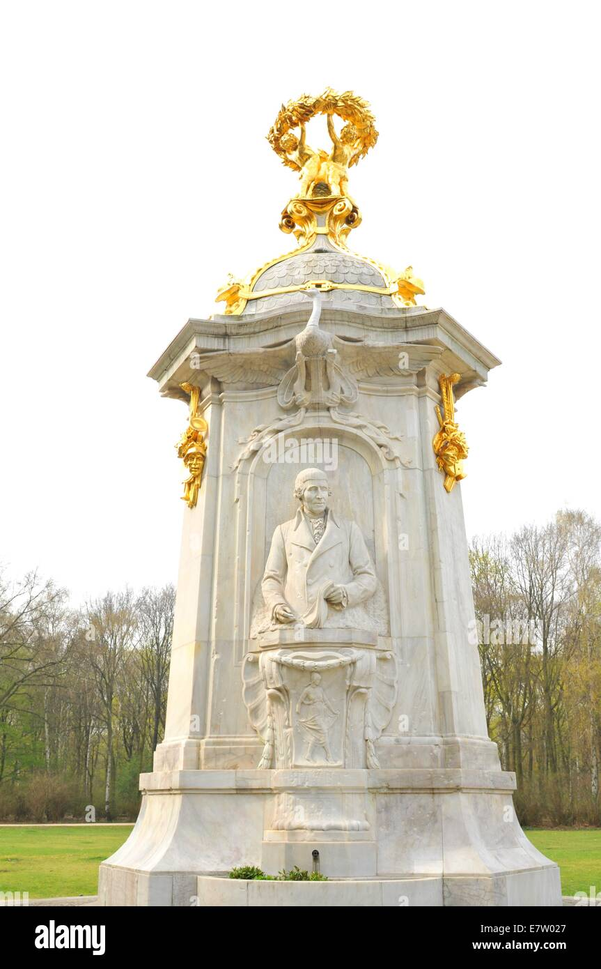 Architectural detail of the monument to Haydn, Beethoven and Mozart (Berlin, Germany) - Stock Image