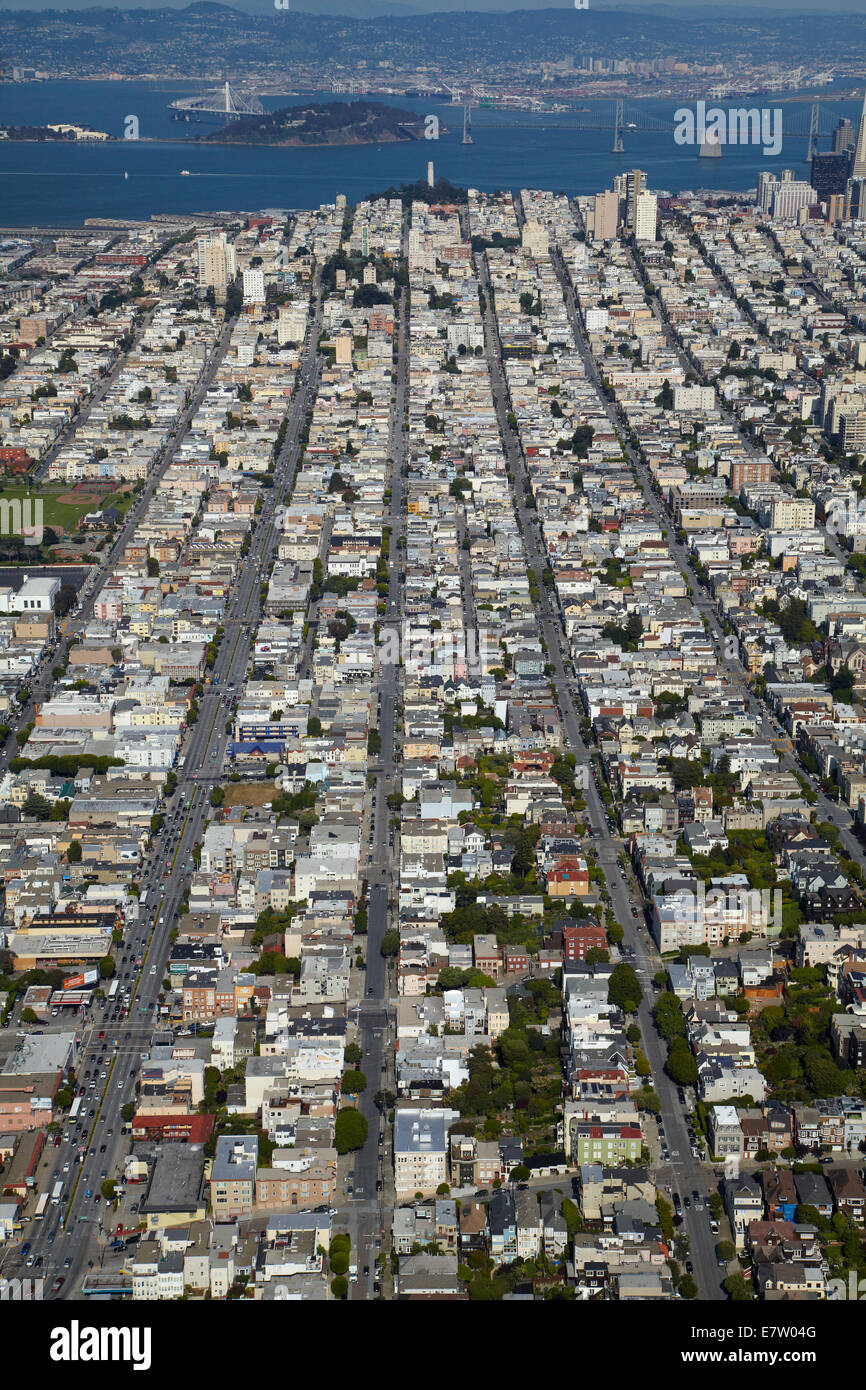 Lombard Street (larger street at left), Cow Hollow neighborhood, San Francisco, California, USA - aerial - Stock Image