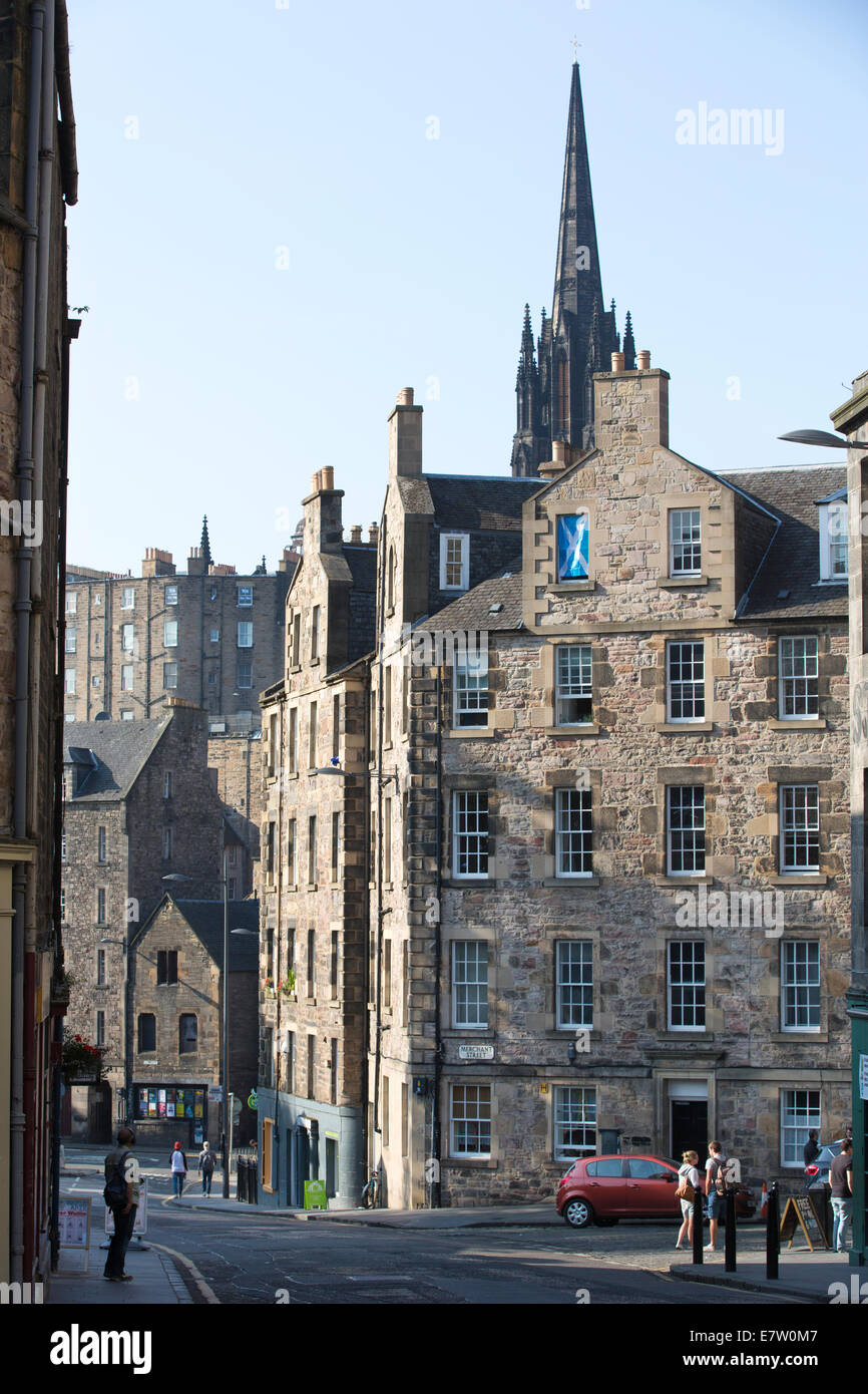 Candlemaker Row leading to Cowgate, in distance the gothic spire of The Hub' , the Old Town, Edinburgh, Scotland, Stock Photo