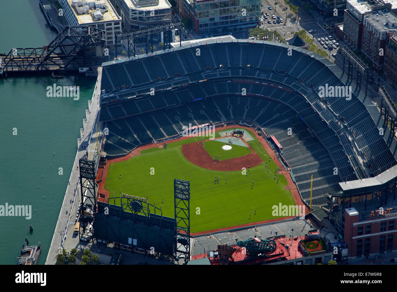 AT&T Park / Giants Ballpark (home of San Francisco Giants baseball team), San Francisco, California, USA - aerial - Stock Image