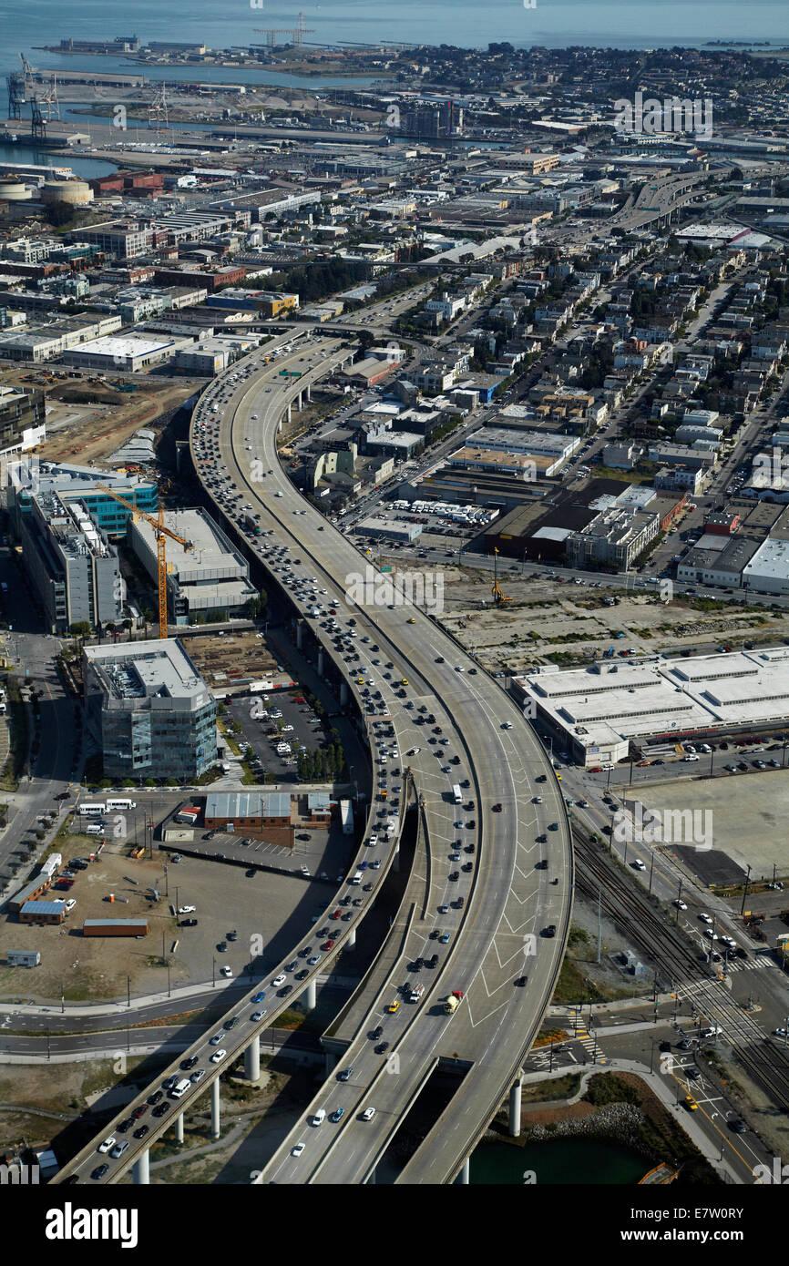 Southern Embarcadero Freeway (I-280) near downtown San Francisco, California, USA - aerial - Stock Image
