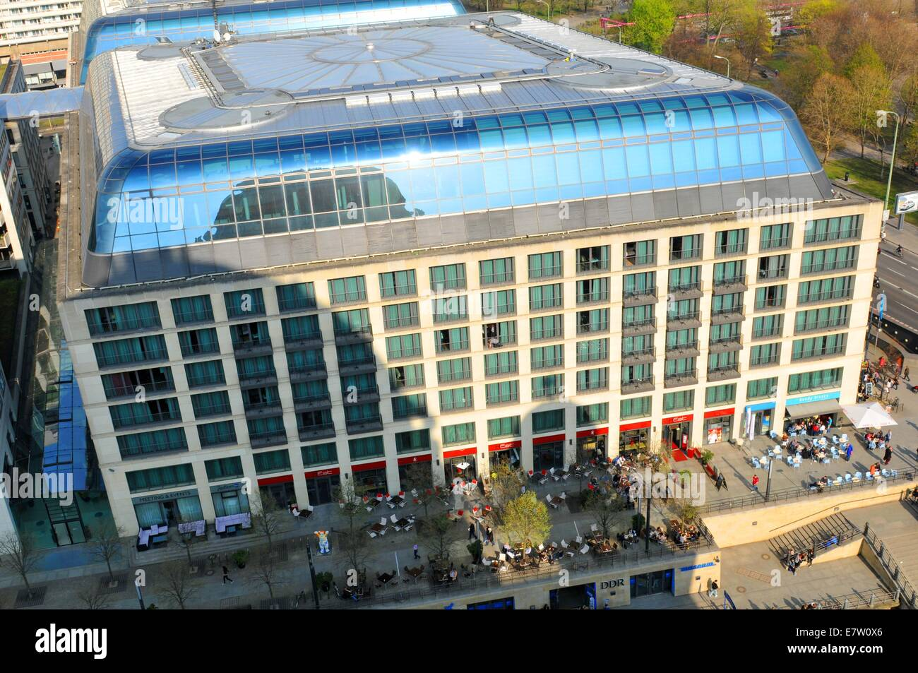 Aerial view of Radisson Blu hotel as seen from the Berlin cathedral dome - Stock Image