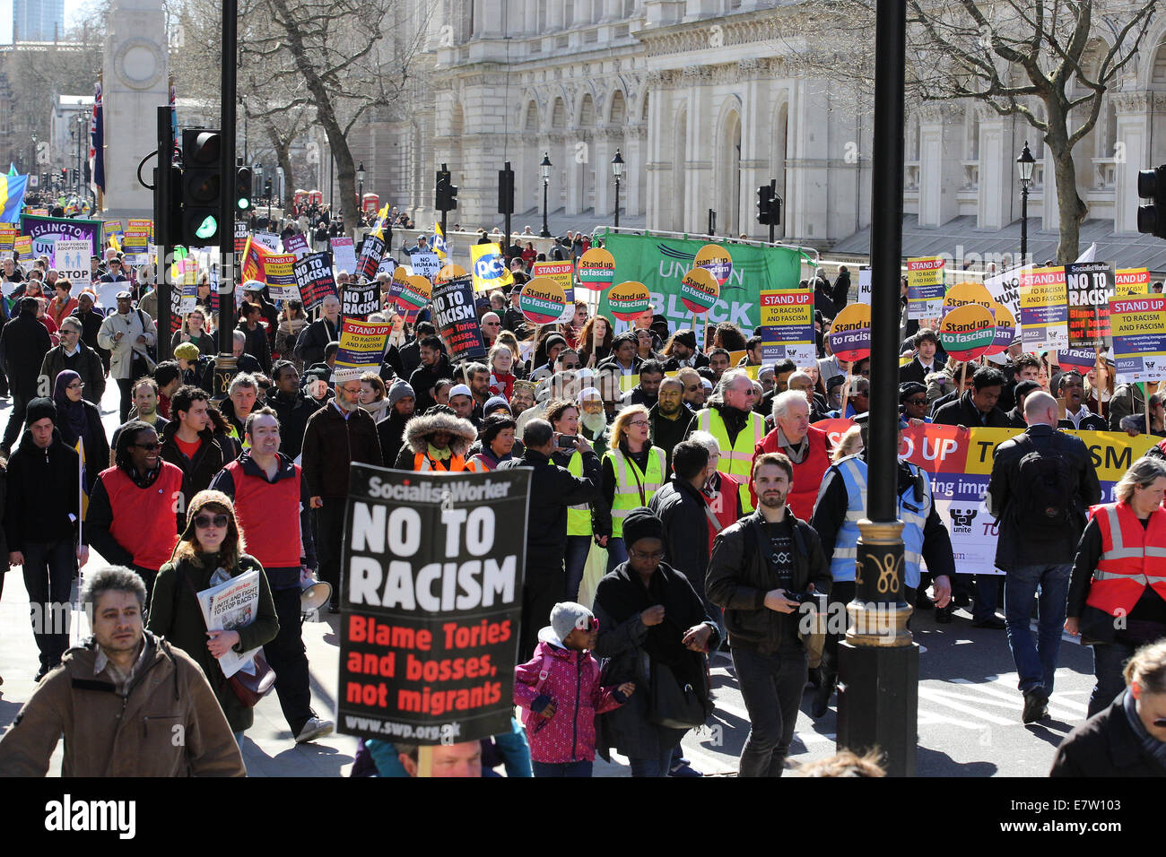 Large march by trade unionists and UAF to protest racism. The march ended with a rally at Trafalgar Square.  Featuring: - Stock Image