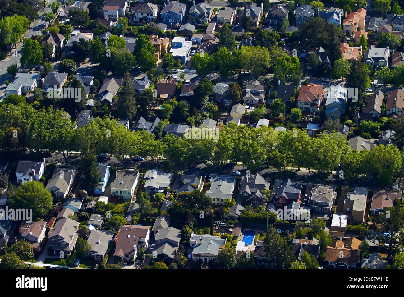 Balboa, Cortez, and Cabrillo Avenues, Burlingame, San Francisco, California, USA - aerial - Stock Image