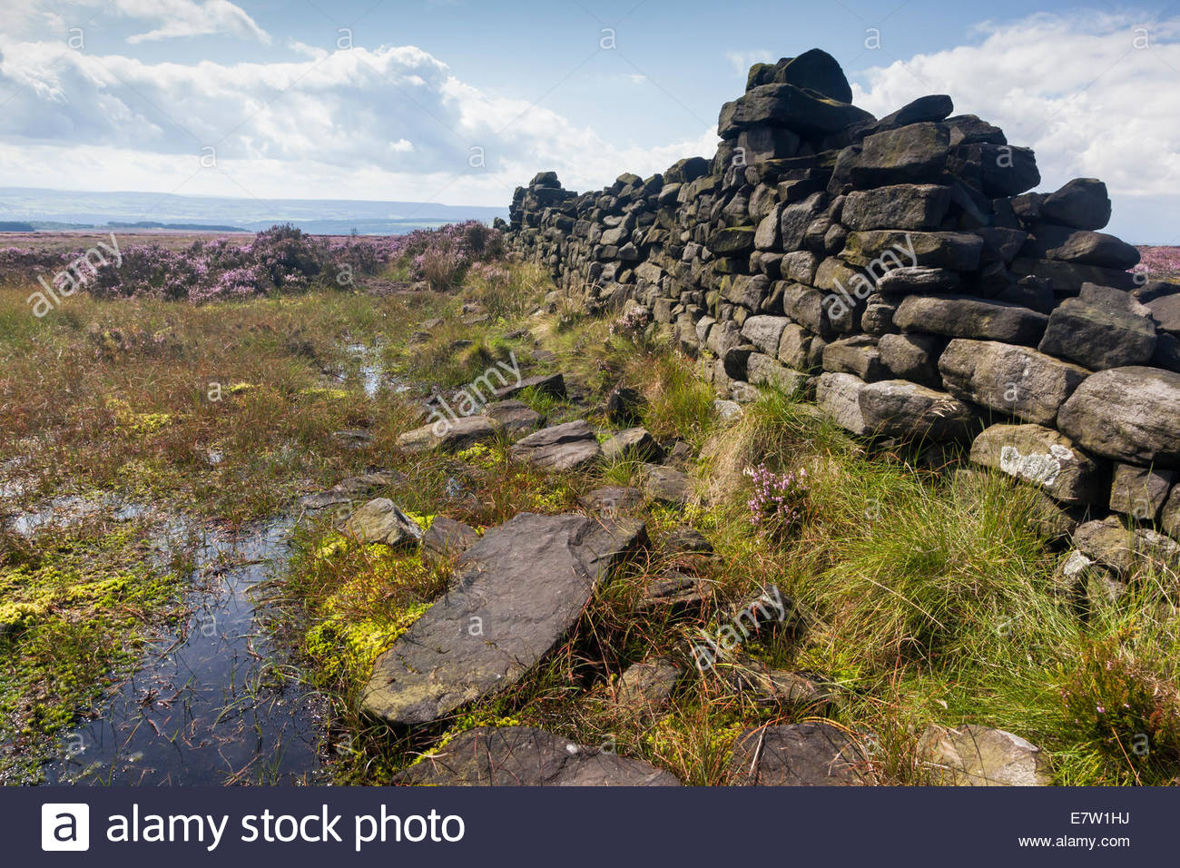 View from Ilkley Moor ( Rombalds Moor ) towards the Aire Valley / Airedale . West Yorkshire England UK Stock Photo