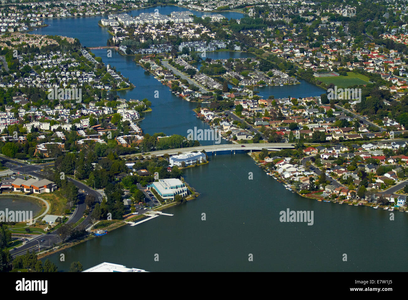 Waterways at Redwood Shores, Redwood City, San Francisco, California, USA - aerial - Stock Image