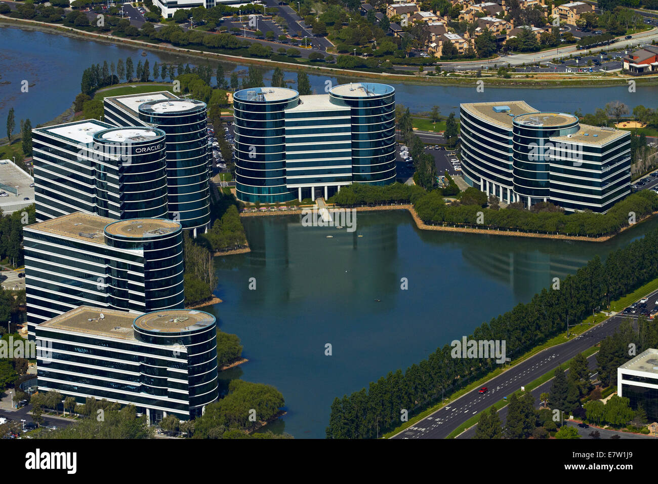Oracle Corporation headquarters and waterways, Redwood Shores, Redwood City, San Francisco, California, USA - aerial - Stock Image
