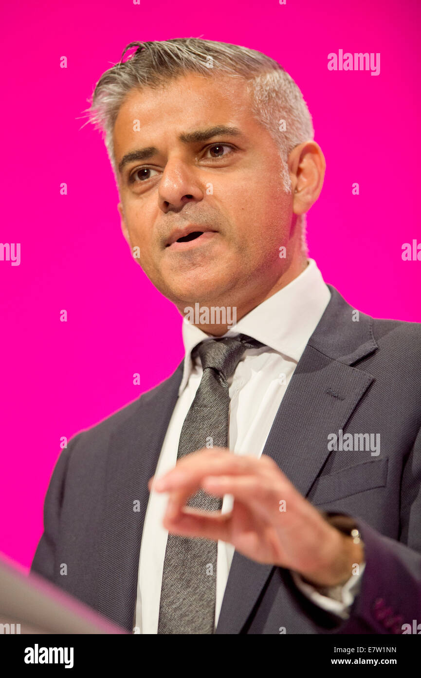 MANCHESTER, UK. 24th September, 2014. Sadiq Khan, Shadow Secretary of State for Justice, Shadow Lord Chancellor, - Stock Image