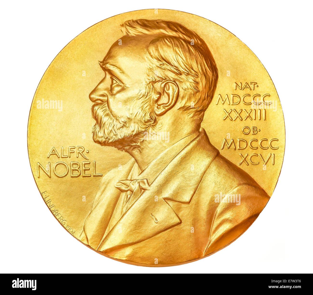 Nobel Prize Medal cut-out cut out cutout isolated on a white background. - Stock Image