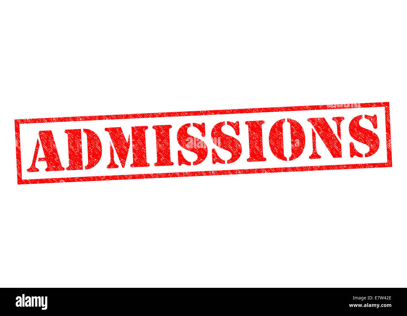 ADMISSIONS red Rubber Stamp over a white background. - Stock Image