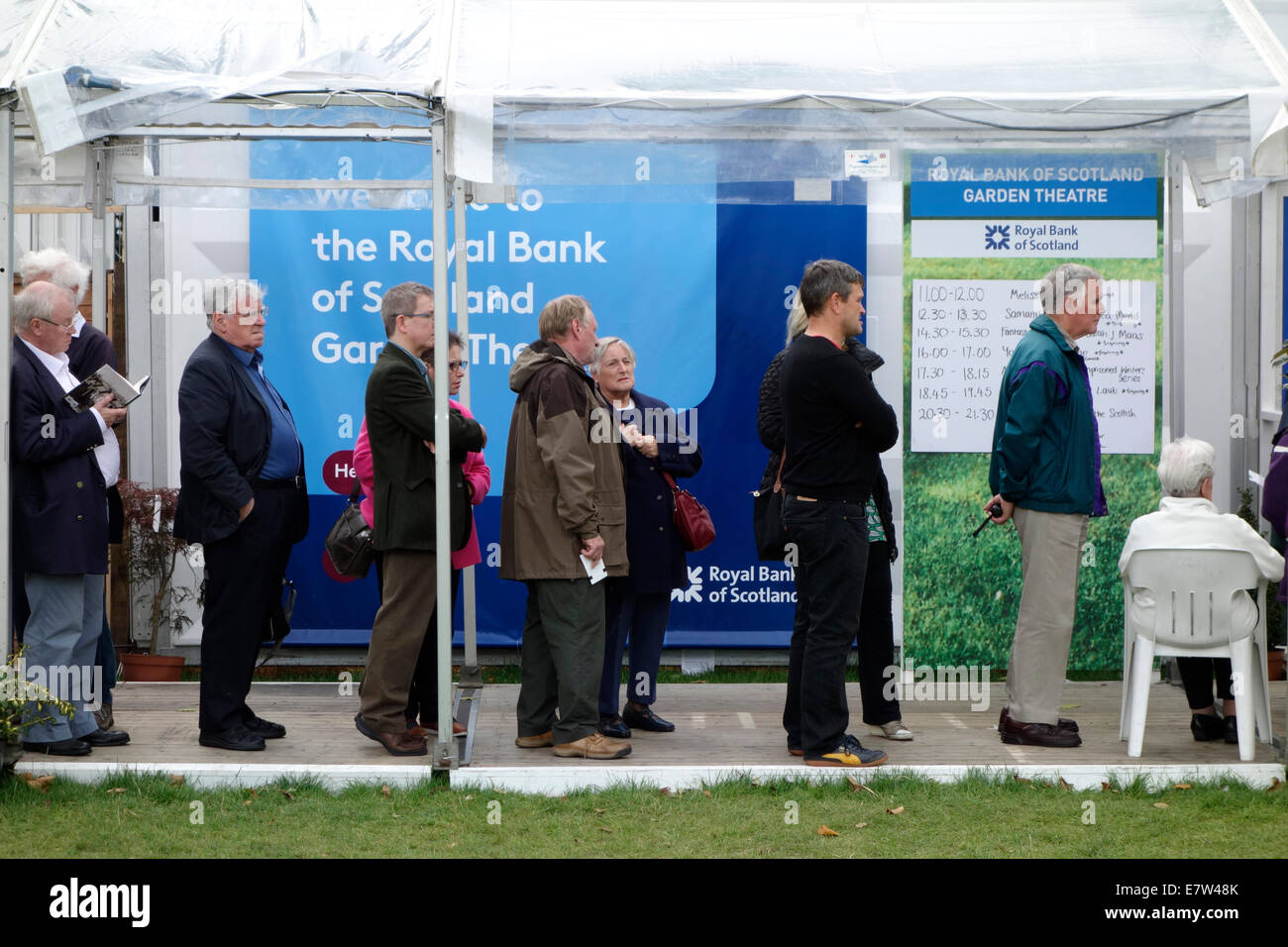 People queueing for an event at the Edinburgh International Book Festival Stock Photo