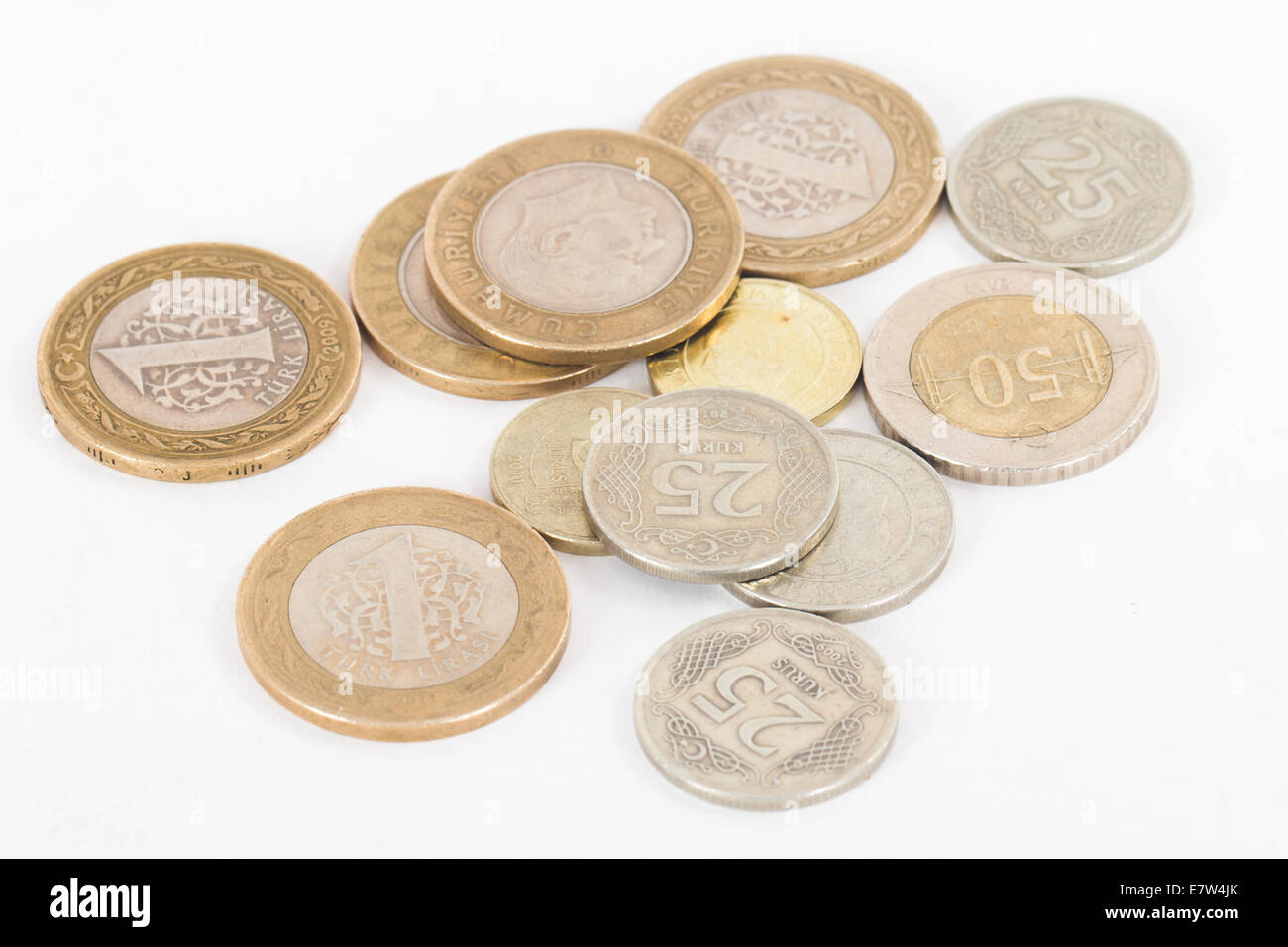 Turkish lira coins, isolated on white background. Stock Photo