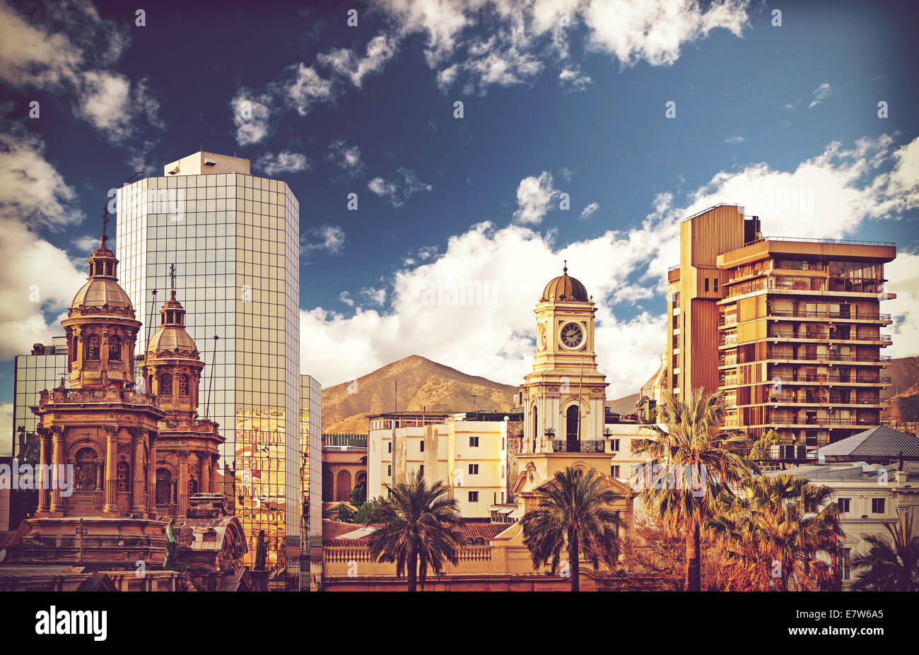 Vintage style picture of Santiago de Chile downtown, Chile. - Stock Image