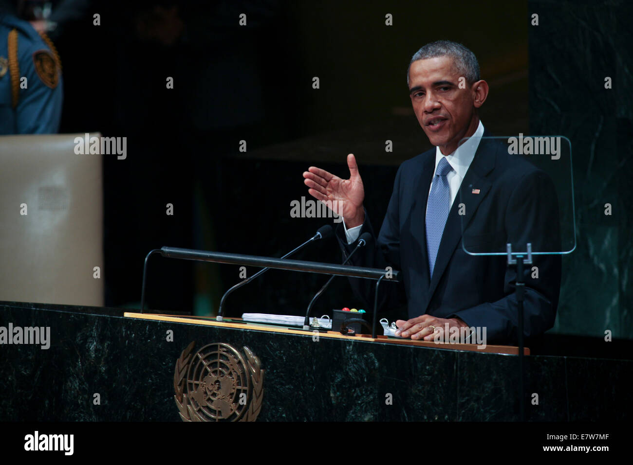 New York, NY, USA. 24th Sep, 2014. United States President Barack Obama addresses the United Nations 69th General Stock Photo