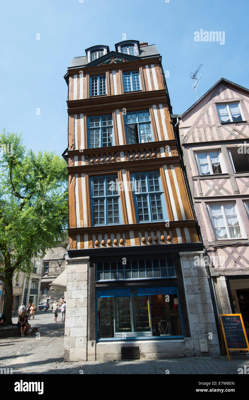 Pretty timber framed buildings in Rouen, France Europe - Stock Image