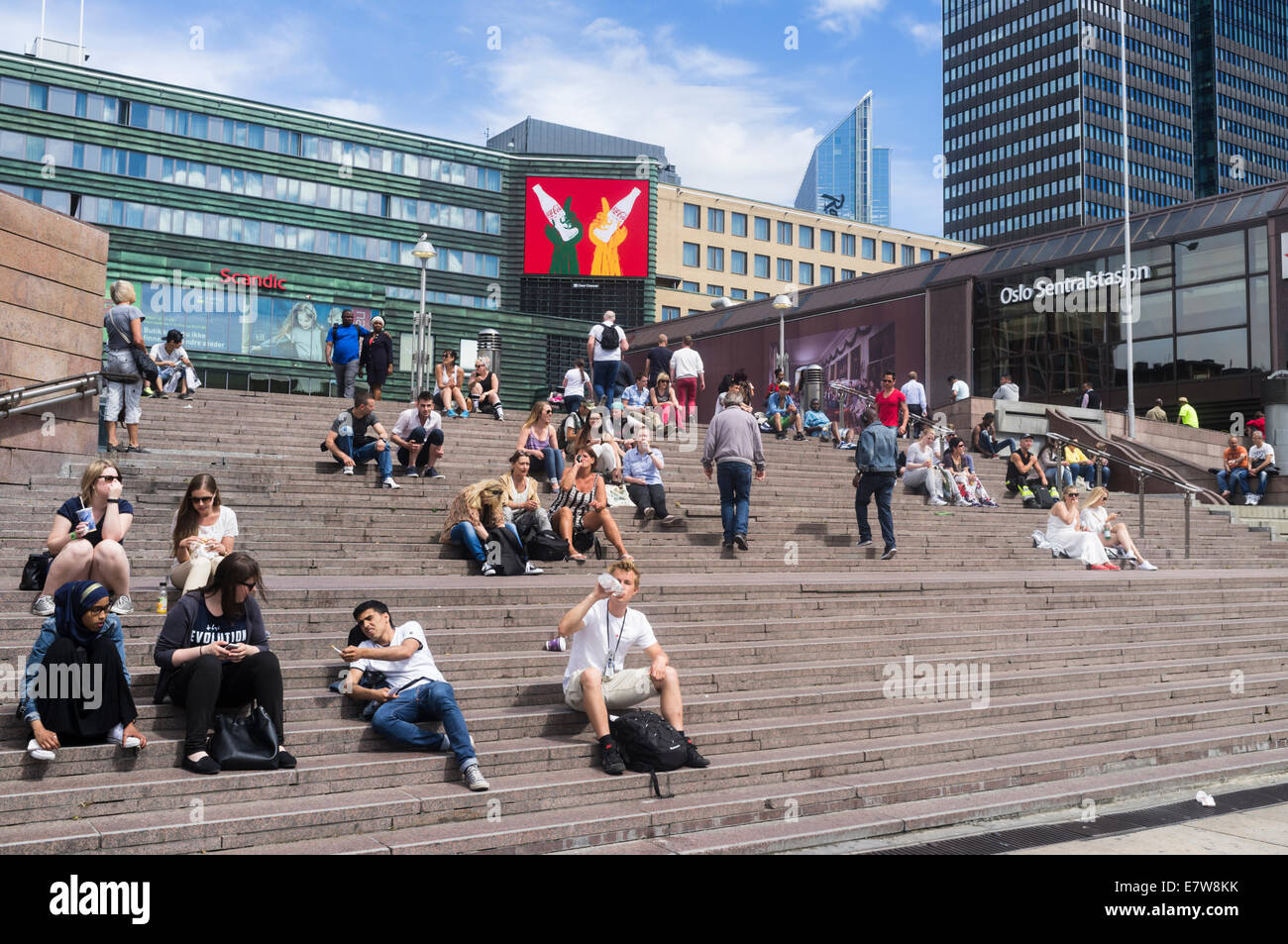 Jernbanetorget, Central Station square, Oslo, Norway - Stock Image