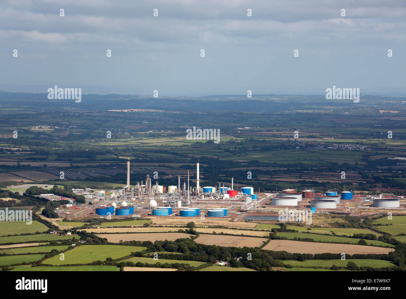 Aerial view of Murco refinery Milford Haven  Hubberston  Pembrokeshire, Wales UK Stock Photo