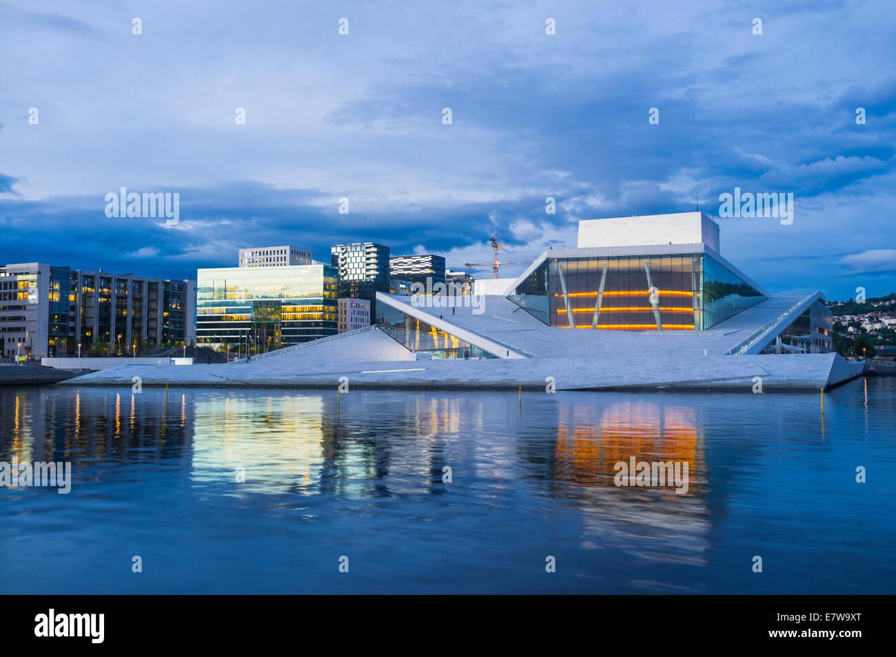 Oslo Opera Hall at dusk, Norway - Stock Image
