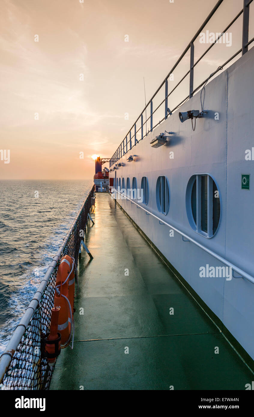 Sunset from the deck of a P&O Irish Sea Ferries ferry between Dublin and Liverpool - Stock Image
