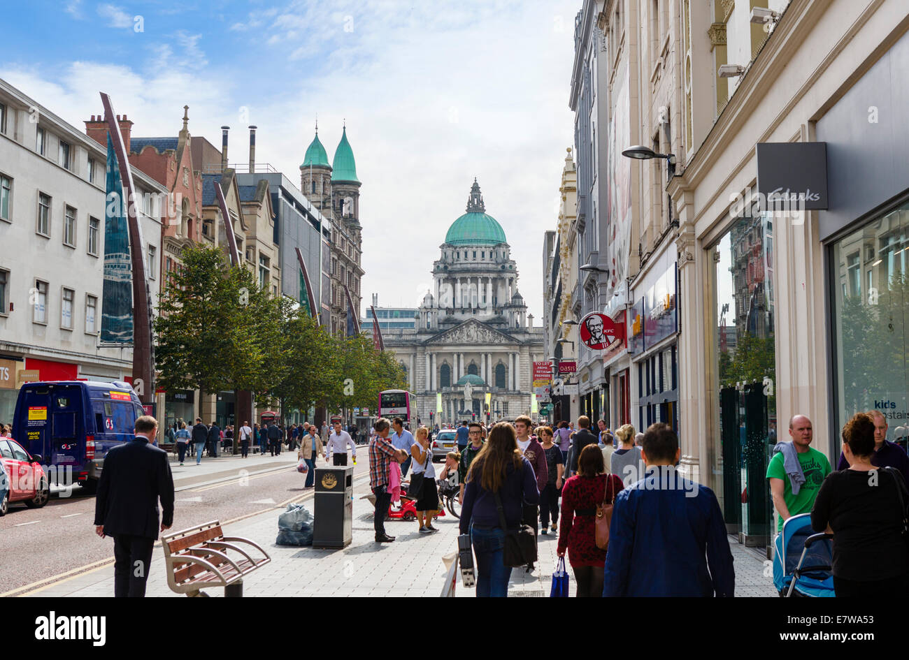Donegall Place looking towards City Hall, Belfast, Northern Ireland, UK - Stock Image