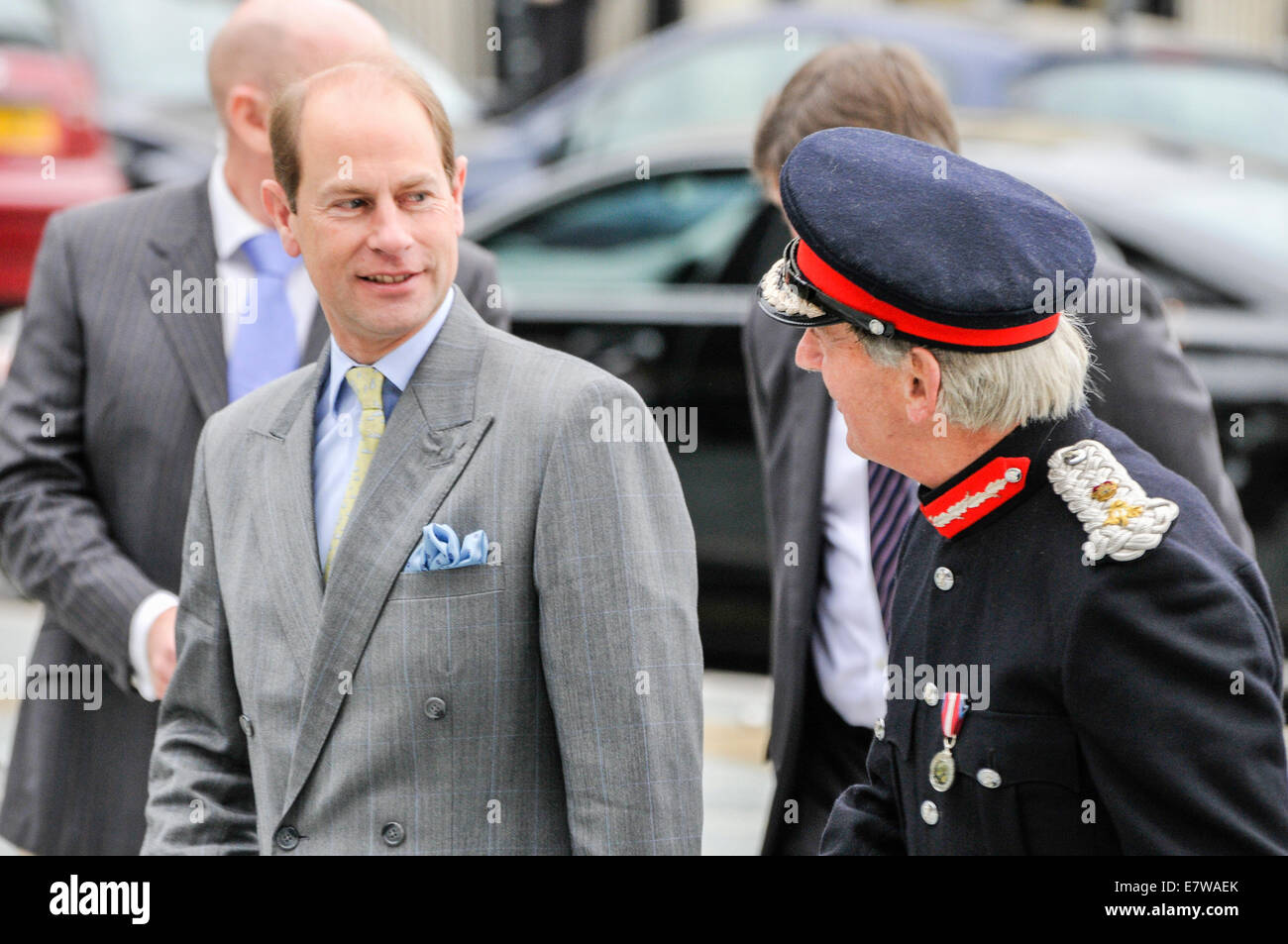 Downpatrick, Northern Ireland. 23/09/2014 - Prince Edward is welcomed to Downpatrick by the Lord Lieutenant for - Stock Image