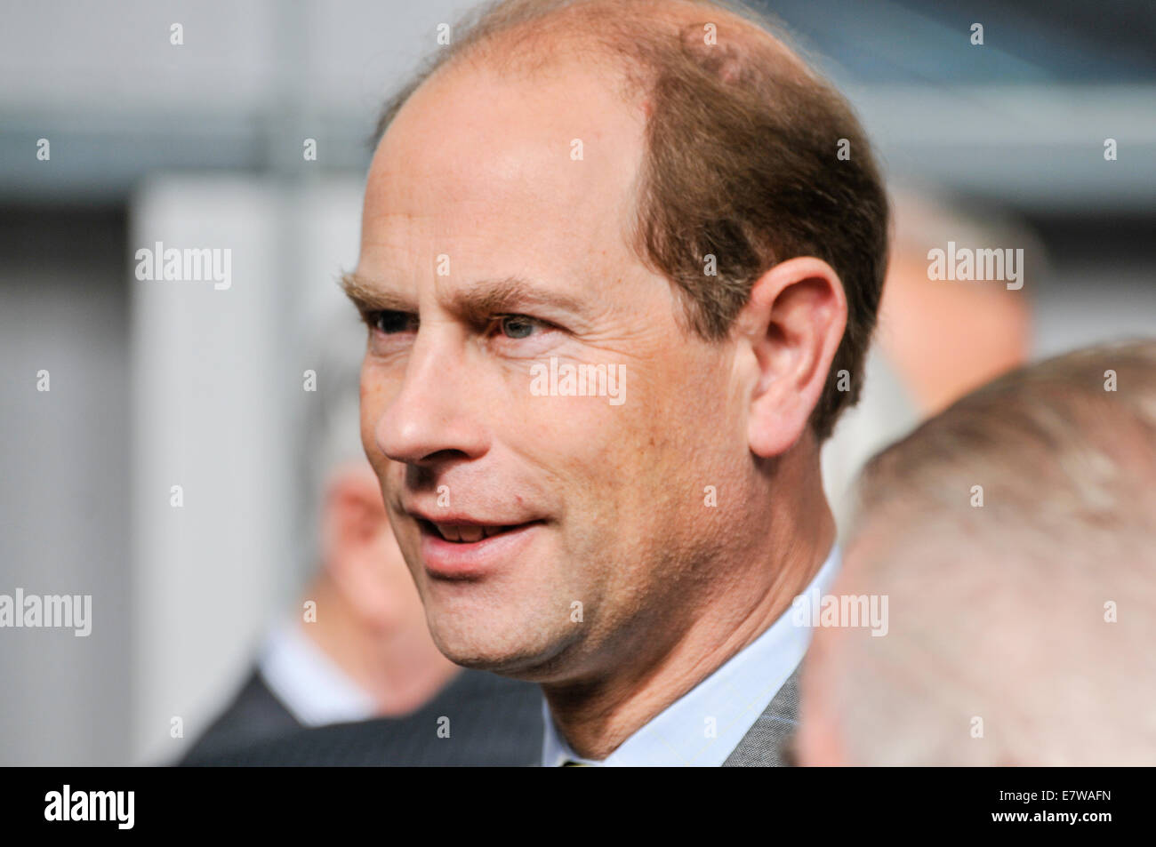 Downpatrick, Northern Ireland. 23/09/2014 - Prince Edward visits Downpatrick Steam Train museum and opens the new - Stock Image