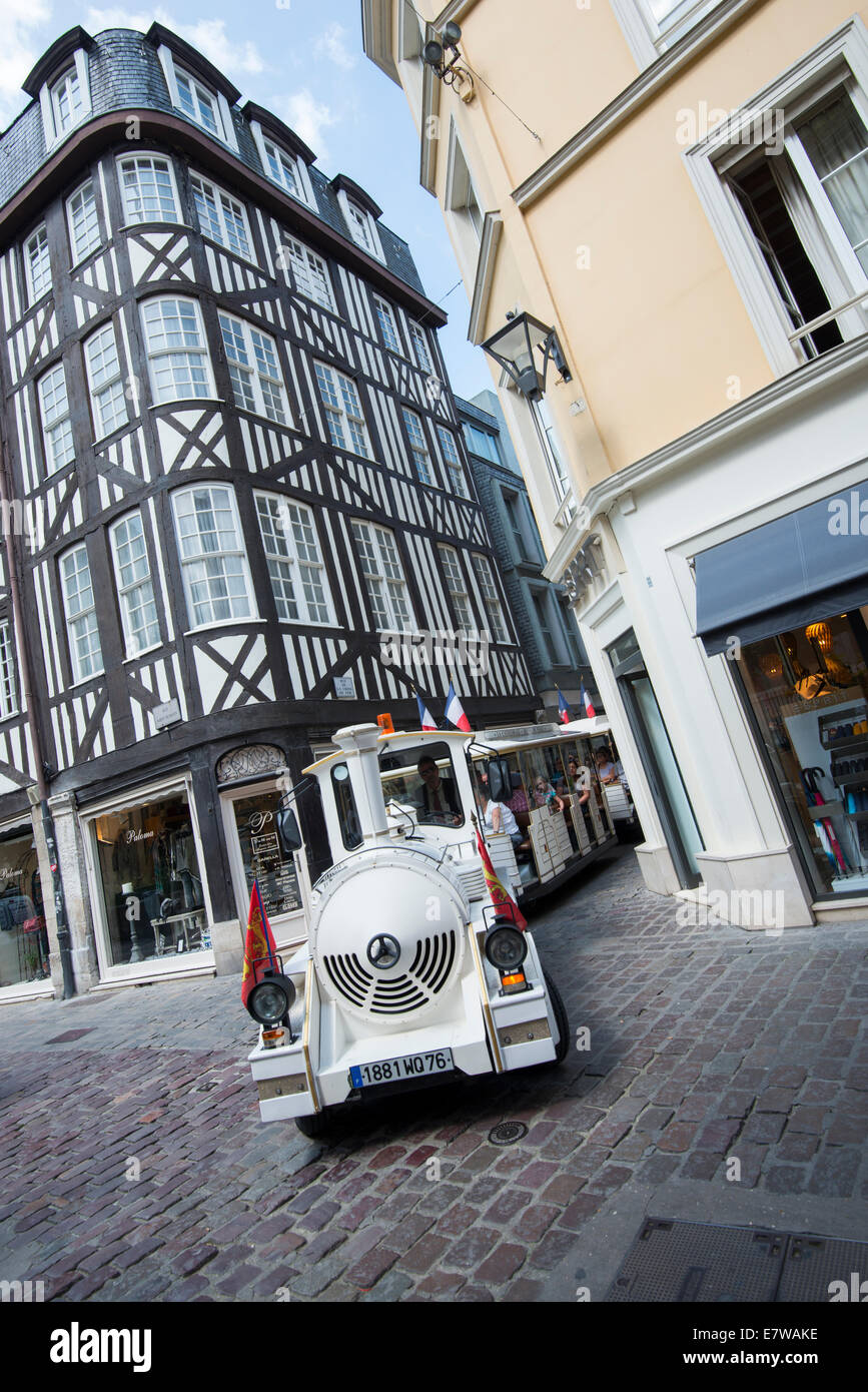 A small train taking tourist on a trip about Rouen, France Europe - Stock Image