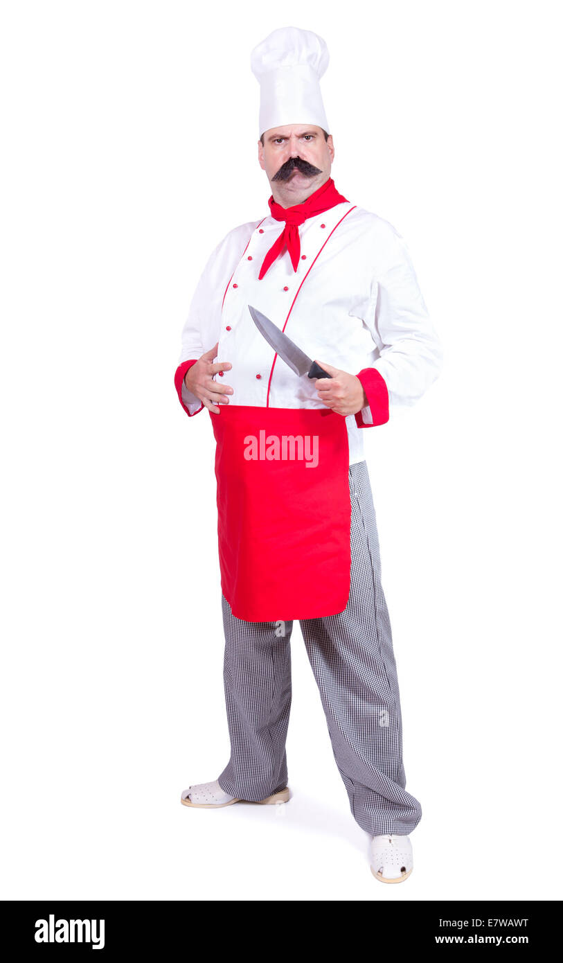 cloudy chef standing with knife - Stock Image