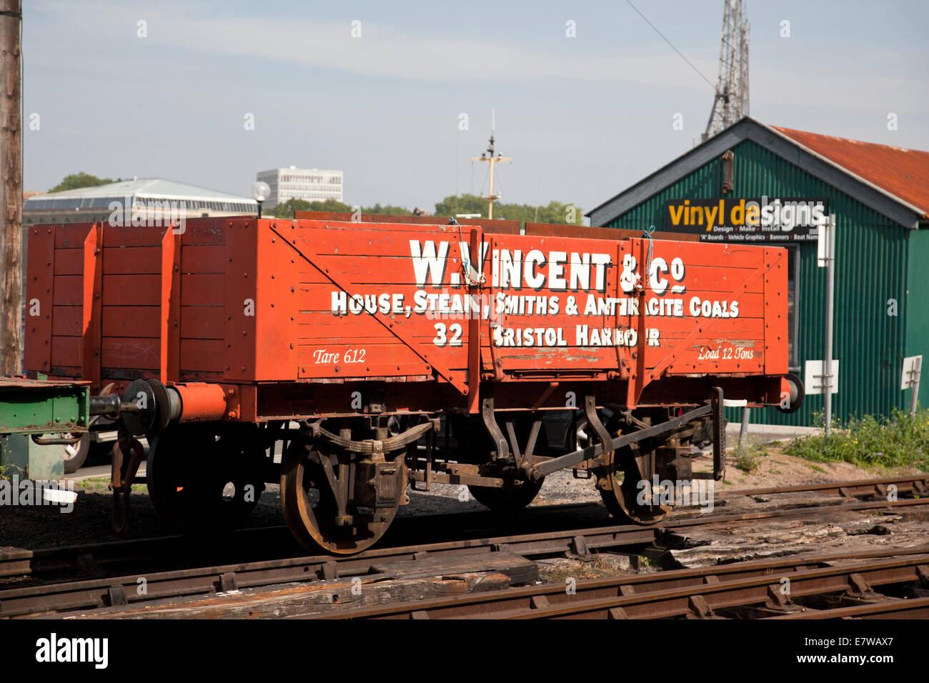V Vincent & Co. railway coal truck Bristol Harbour Railway carriage, Bristol, UK - Stock Image