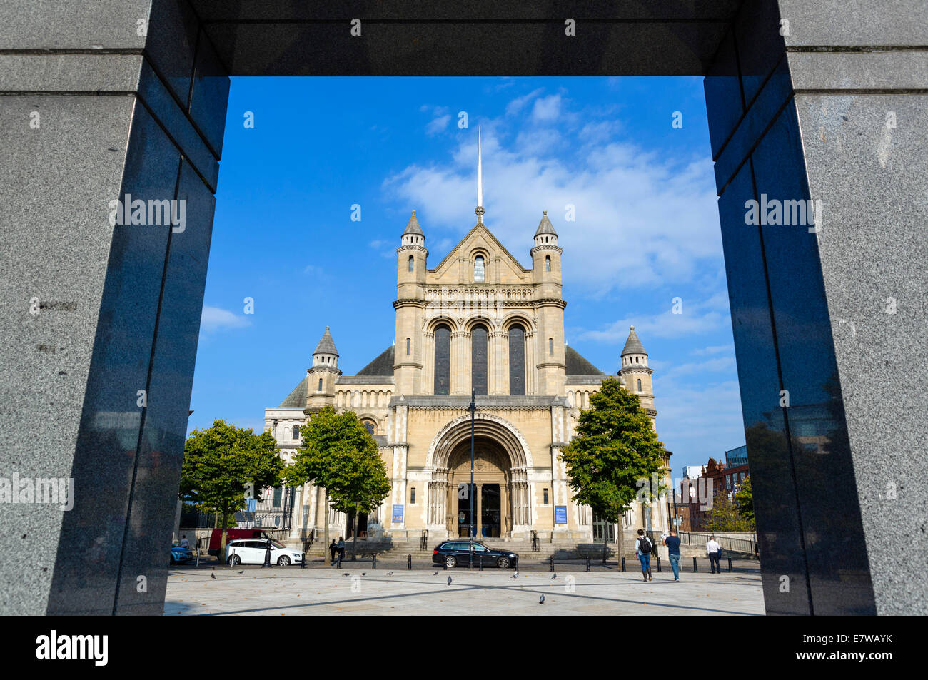 St Anne's Cathedral from Writer's Square, Cathedral Quarter, Belfast, Northern Ireland, UK - Stock Image