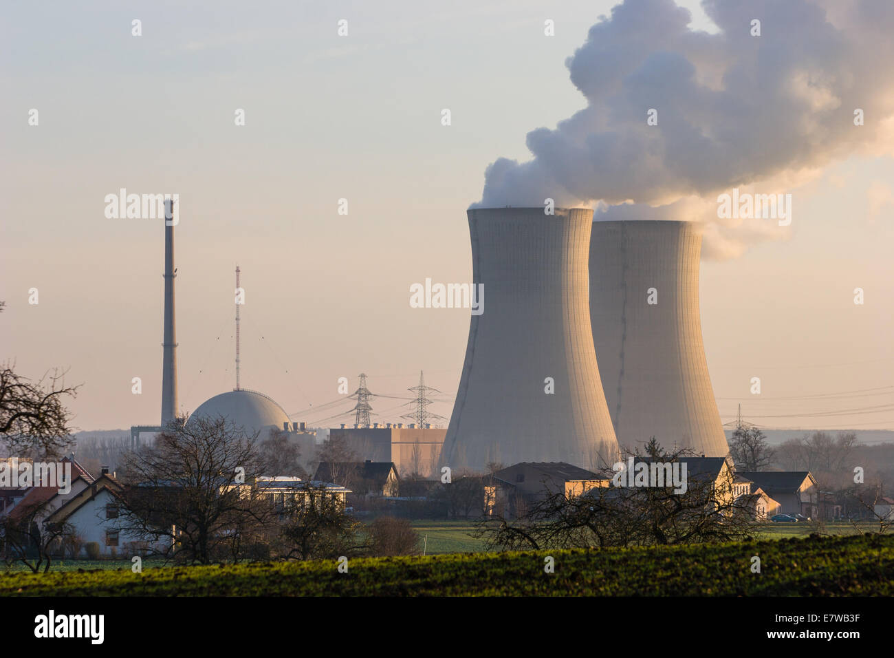 Nuclear Plant Grafenrheinfeld near Schweinfurt, Germany Stock Photo