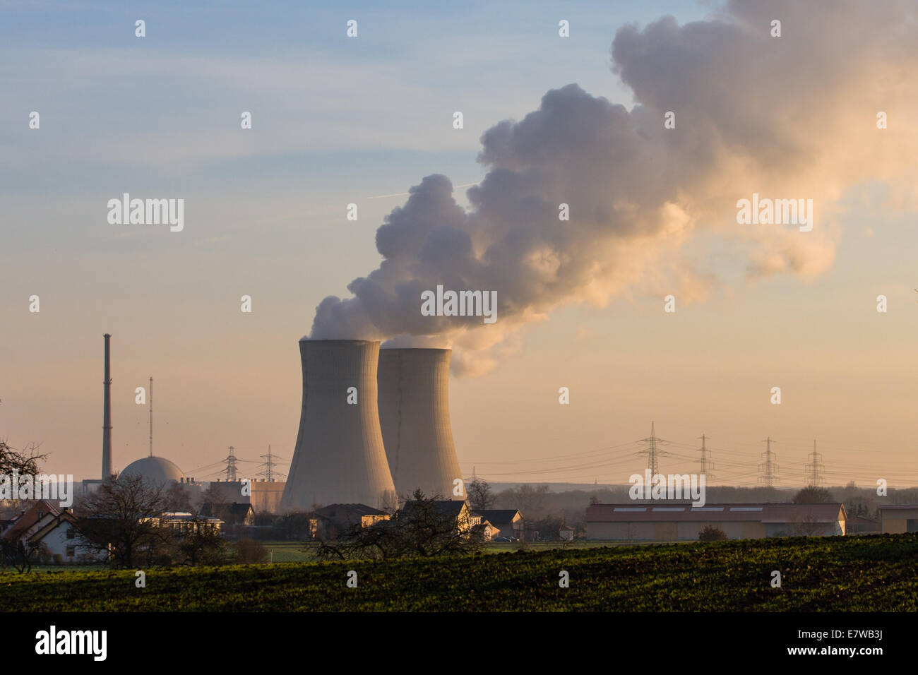 Nuclear Plant Grafenrheinfeld near Schweinfurt, Germany Stock Photo