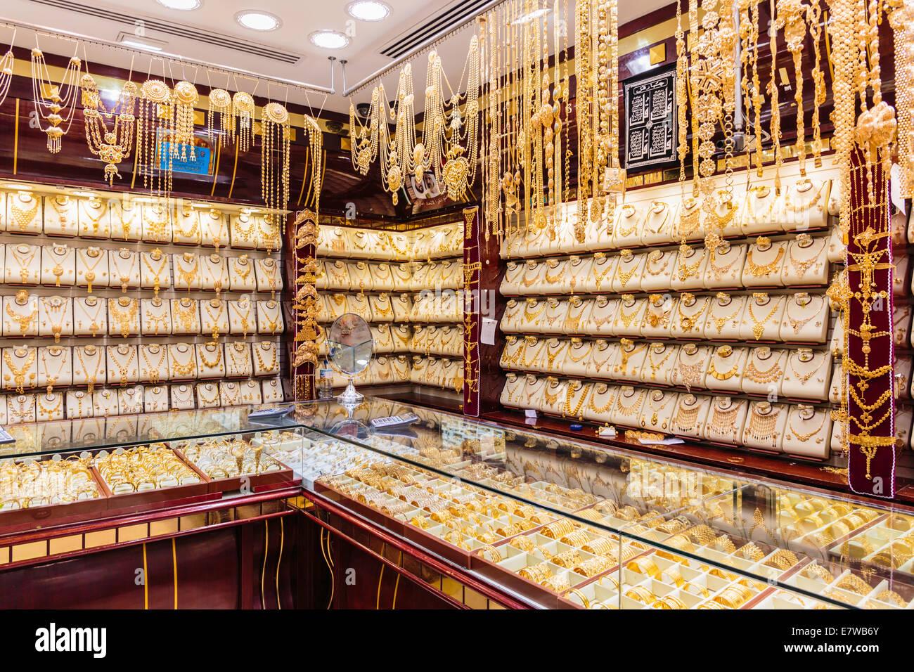 Gold market in Dubai, Deira Gold Souq - Stock Image