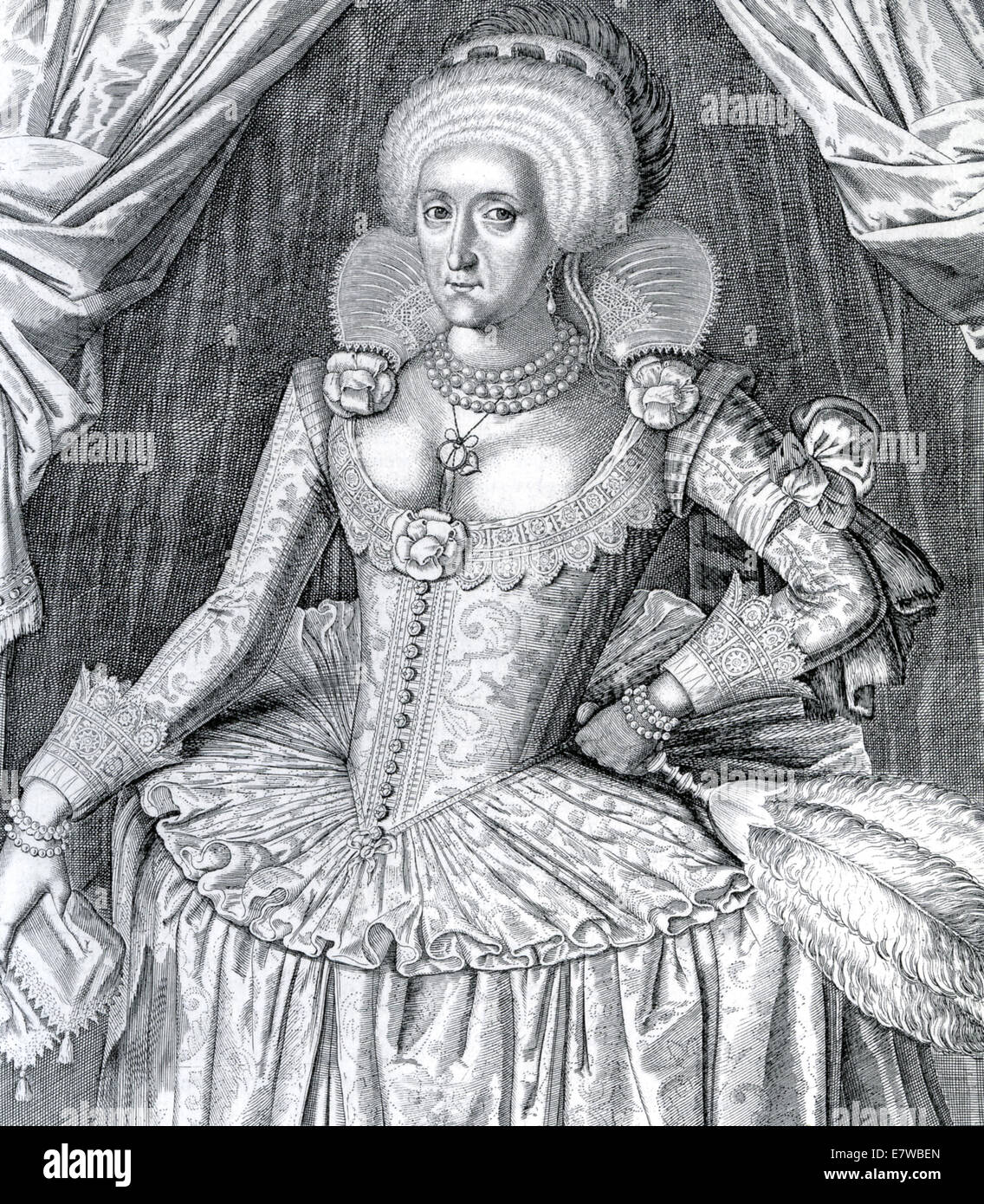 ANNE OF DENMARK (1574-1619) ife of James VI. A posthumous engraving showing the farthingale Stock Photo