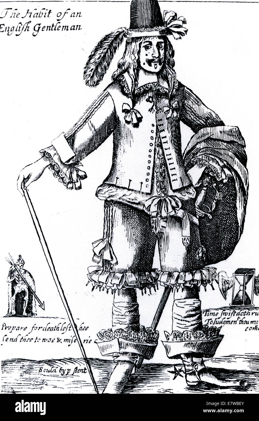 'THE HABIT OF AN ENGLISH GENTLEMAN'  Satirical engraving about 1645. See Description below - Stock Image