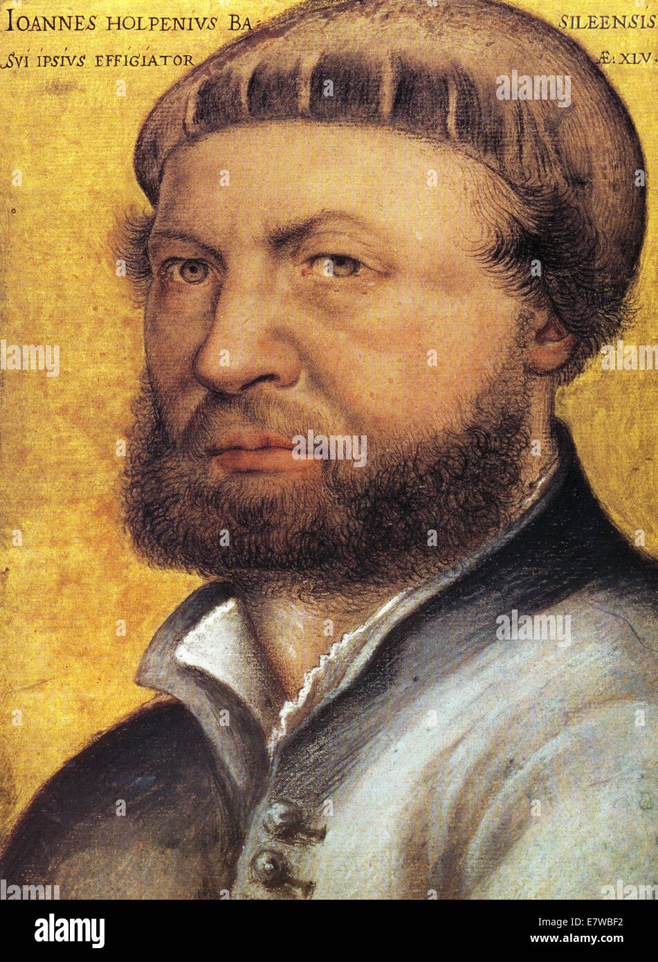 HANS HOLBEIN THE YOUNGER c 1497-1543) self portrait of the German artist - Stock Image