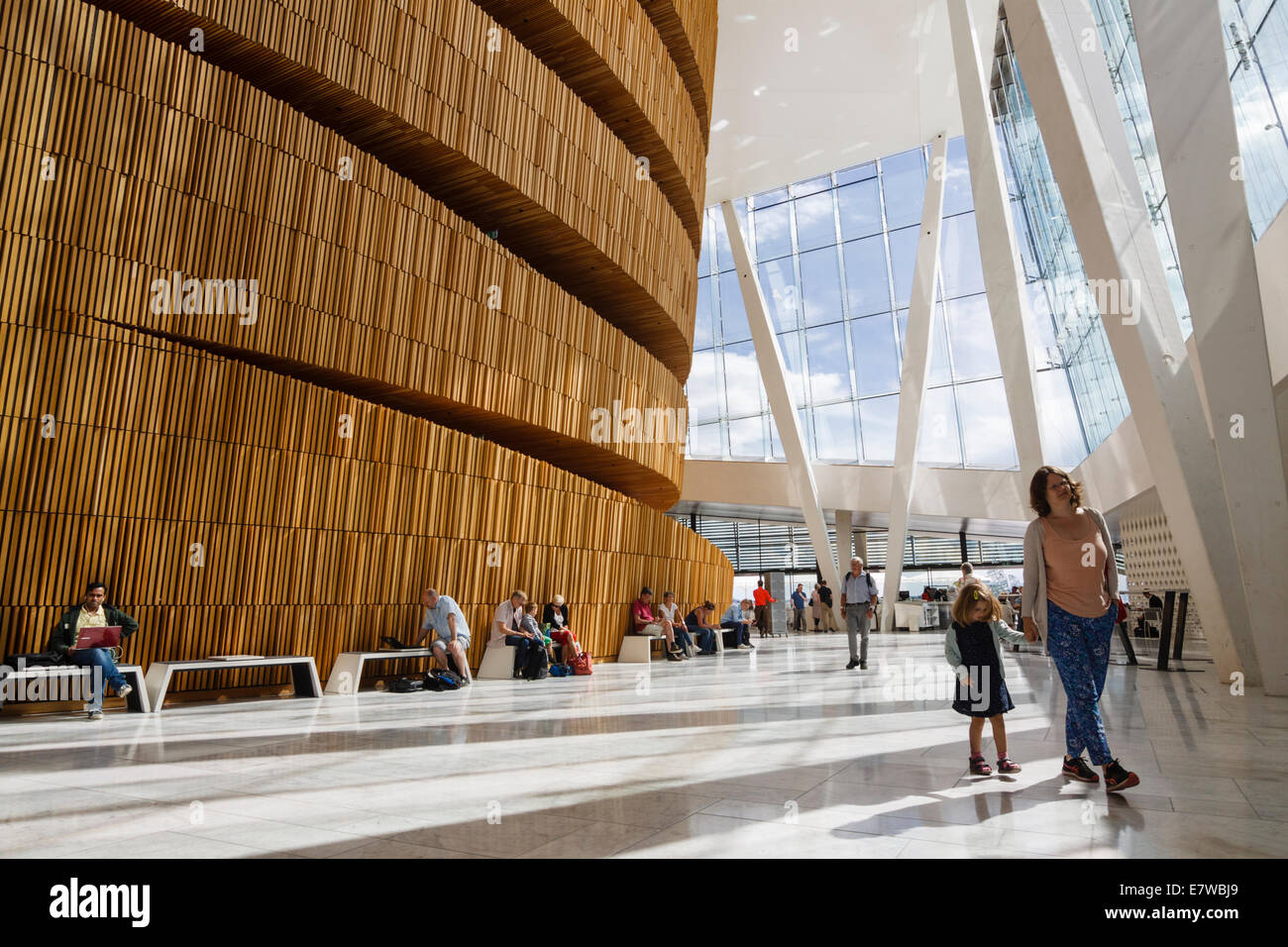 Wave Wall at the foyer of the Opera Hall, Oslo, Norway Stock Photo
