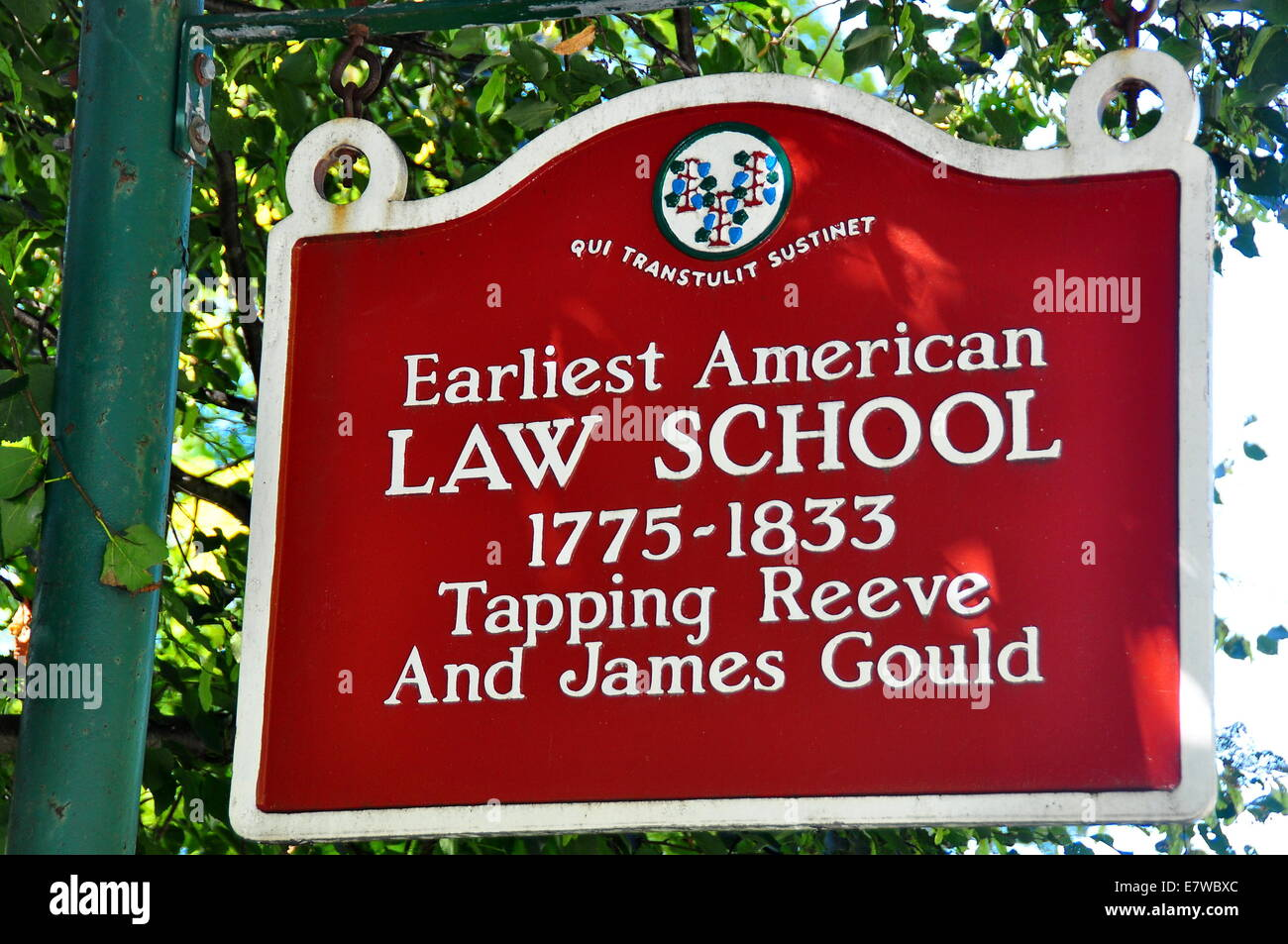 Litchfield, Connecticut:  Sign at the historic 1775-1833 Tapping Reeve Law School   * - Stock Image