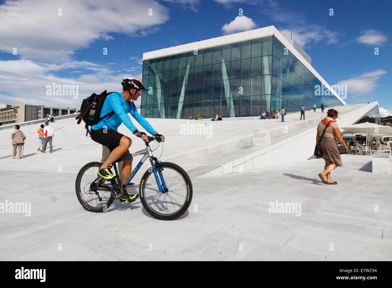 Cyclist by the Opera Hall, Oslo, Norway - Stock Image